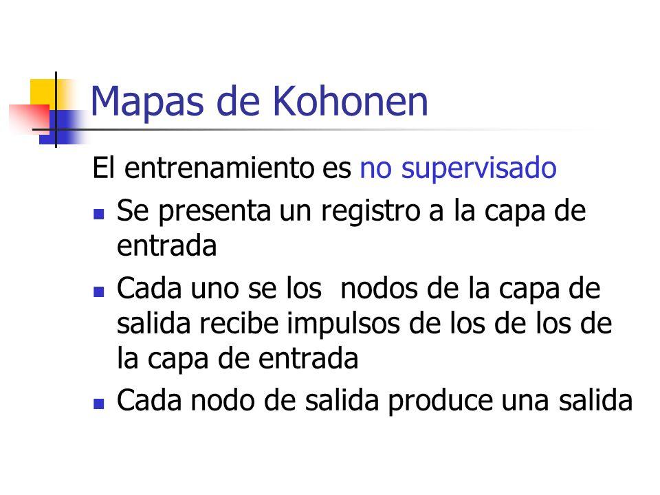 Mapas de Kohonen El entrenamiento es no supervisado Se presenta un registro a la capa de entrada Cada uno se los nodos de la capa de salida recibe imp