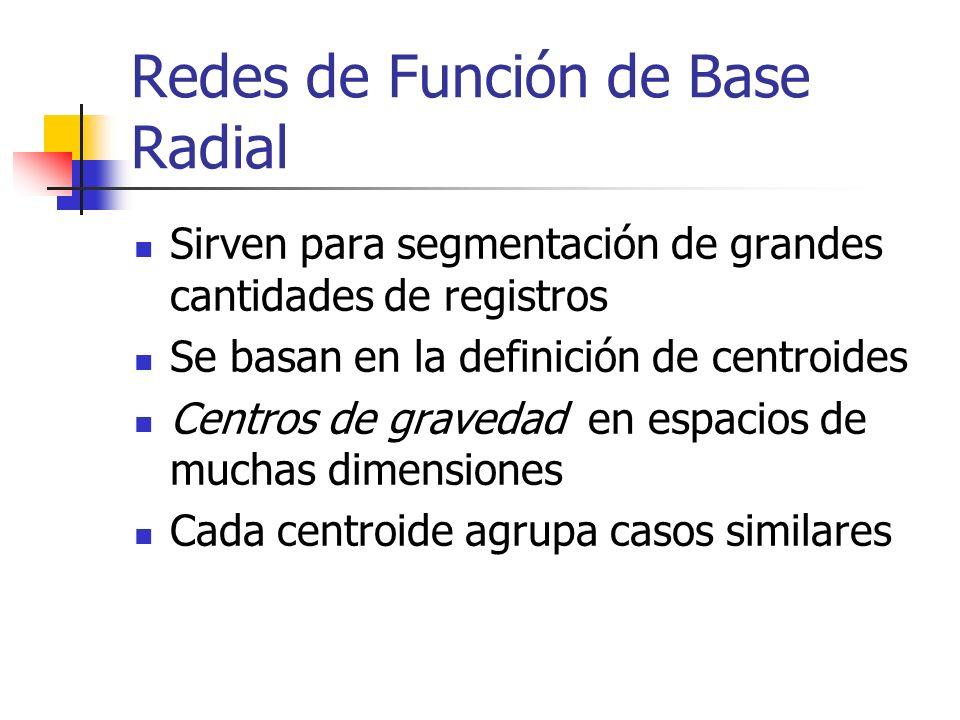 Redes de Función de Base Radial Sirven para segmentación de grandes cantidades de registros Se basan en la definición de centroides Centros de graveda