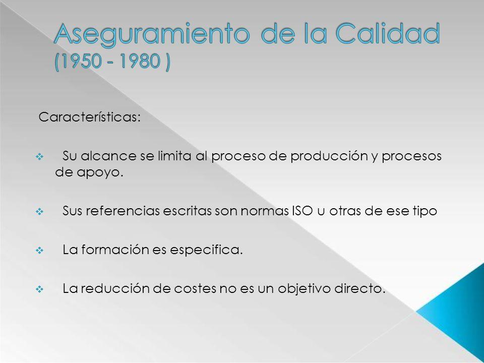 Características: Su alcance se limita al proceso de producción y procesos de apoyo. Sus referencias escritas son normas ISO u otras de ese tipo La for