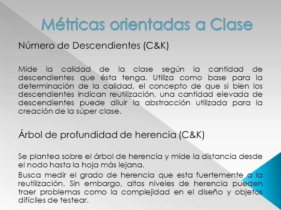Número de Descendientes (C&K) Mide la calidad de la clase según la cantidad de descendientes que ésta tenga. Utiliza como base para la determinación d