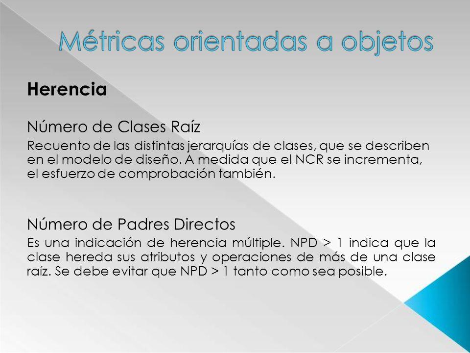 Herencia Número de Clases Raíz Recuento de las distintas jerarquías de clases, que se describen en el modelo de diseño. A medida que el NCR se increme