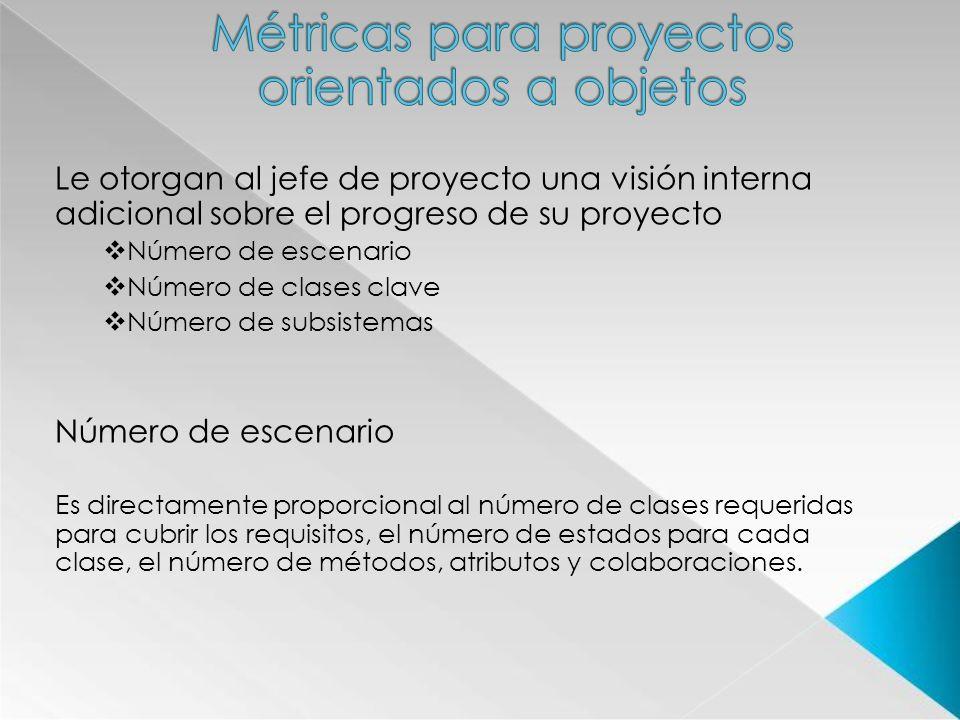 Le otorgan al jefe de proyecto una visión interna adicional sobre el progreso de su proyecto Número de escenario Número de clases clave Número de subs