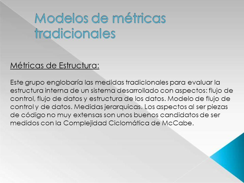 Métricas de Estructura: Este grupo englobaría las medidas tradicionales para evaluar la estructura interna de un sistema desarrollado con aspectos: fl