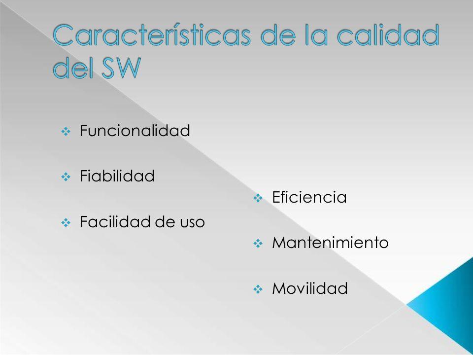 Funcionalidad Fiabilidad Facilidad de uso Eficiencia Mantenimiento Movilidad