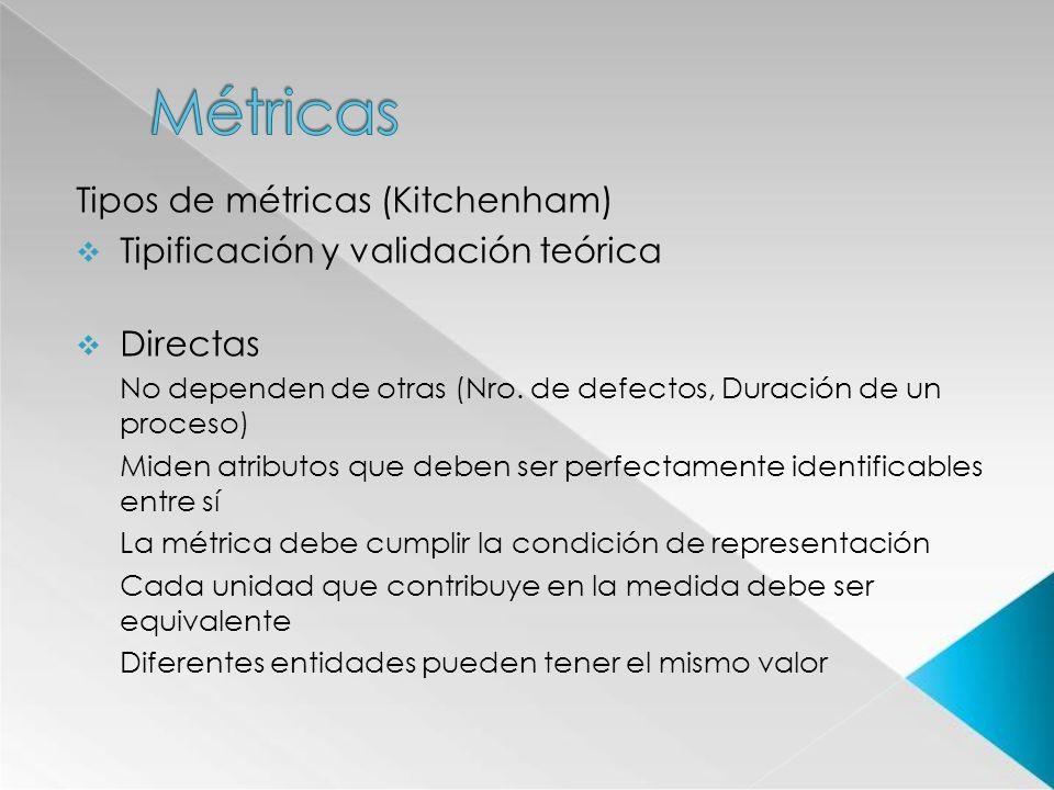 Tipos de métricas (Kitchenham) Tipificación y validación teórica Directas No dependen de otras (Nro. de defectos, Duración de un proceso) Miden atribu