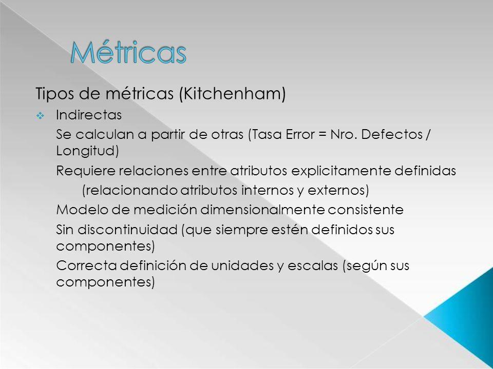 Tipos de métricas (Kitchenham) Indirectas Se calculan a partir de otras (Tasa Error = Nro. Defectos / Longitud) Requiere relaciones entre atributos ex