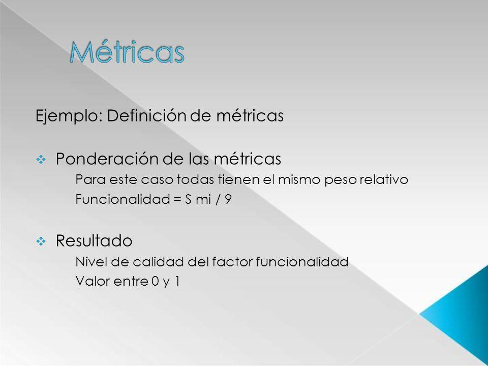 Ejemplo: Definición de métricas Ponderación de las métricas Para este caso todas tienen el mismo peso relativo Funcionalidad = S mi / 9 Resultado Nive