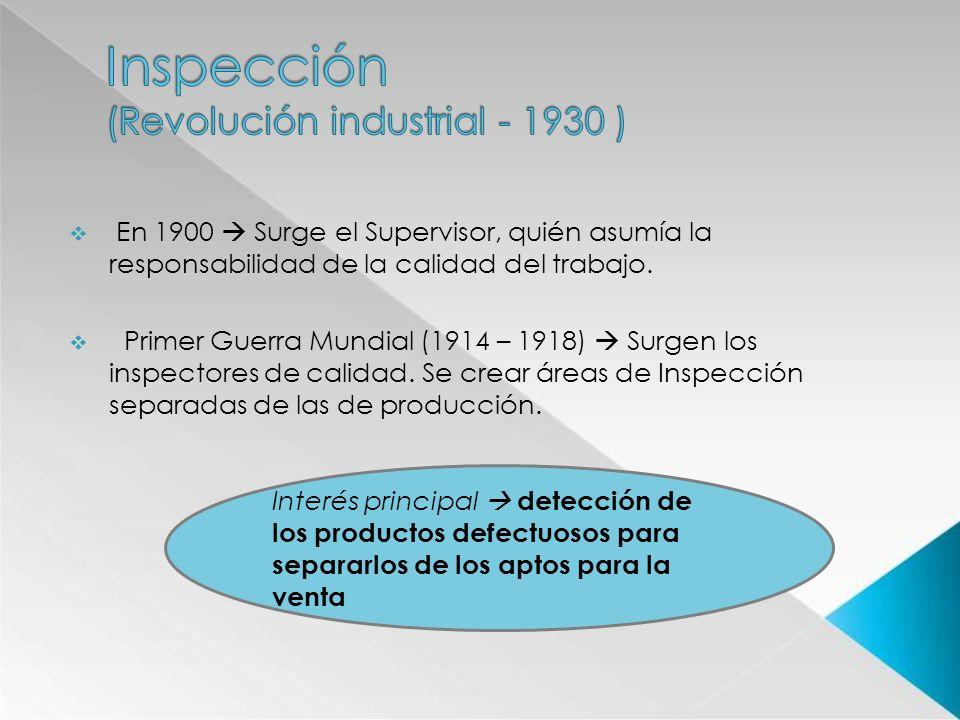 En 1900 Surge el Supervisor, quién asumía la responsabilidad de la calidad del trabajo. Primer Guerra Mundial (1914 – 1918) Surgen los inspectores de
