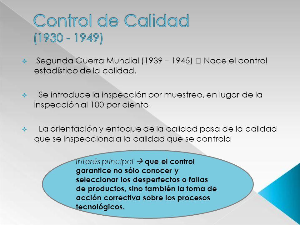 Segunda Guerra Mundial (1939 – 1945) Nace el control estadístico de la calidad. Se introduce la inspección por muestreo, en lugar de la inspección al