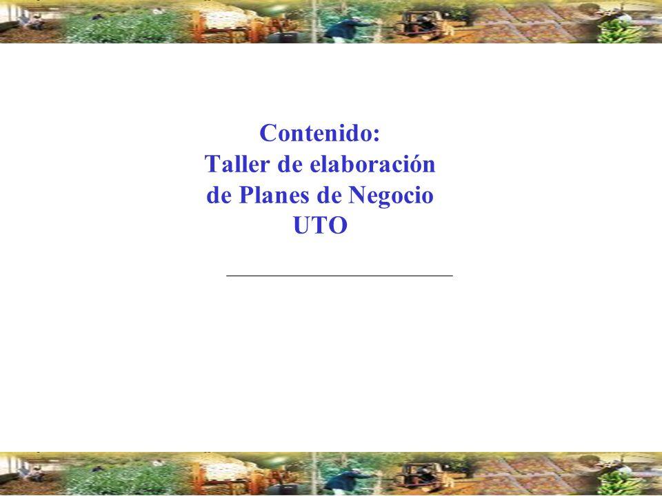 Contenido: Taller de elaboración de Planes de Negocio UTO