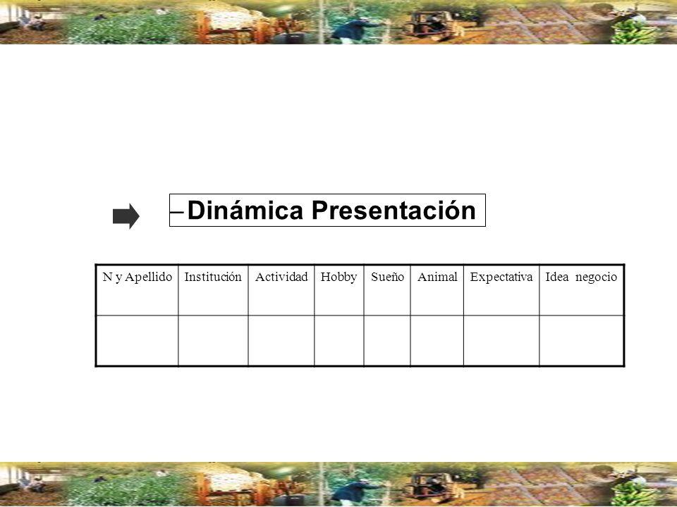 –Dinámica Presentación N y ApellidoInstituciónActividadHobbySueñoAnimalExpectativaIdea negocio