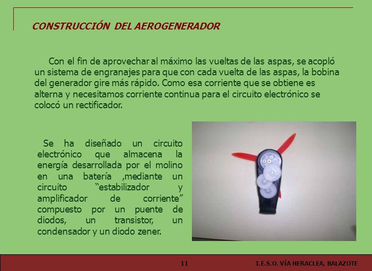 I.E.S.O. VÍA HERACLEA, BALAZOTE11 CONSTRUCCIÓN DEL AEROGENERADOR Se ha diseñado un circuito electrónico que almacena la energía desarrollada por el mo
