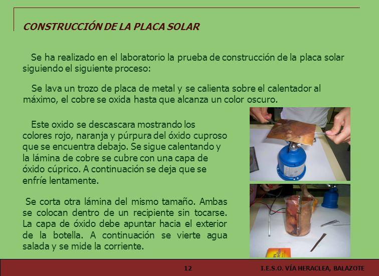 I.E.S.O. VÍA HERACLEA, BALAZOTE12 CONSTRUCCIÓN DE LA PLACA SOLAR Se ha realizado en el laboratorio la prueba de construcción de la placa solar siguien