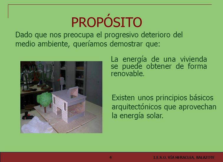 I.E.S.O. VÍA HERACLEA, BALAZOTE4 La energía de una vivienda se puede obtener de forma renovable. PROPÓSITO Existen unos principios básicos arquitectón