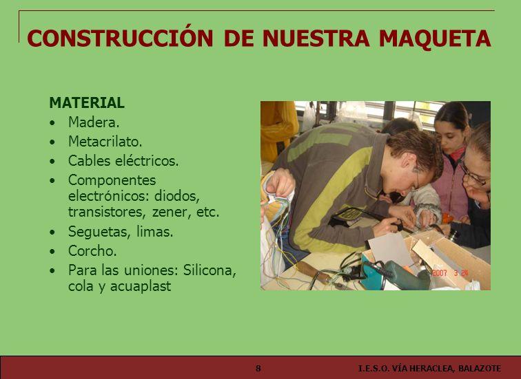 I.E.S.O. VÍA HERACLEA, BALAZOTE8 MATERIAL Madera. Metacrilato. Cables eléctricos. Componentes electr ó nicos: diodos, transistores, zener, etc. Seguet