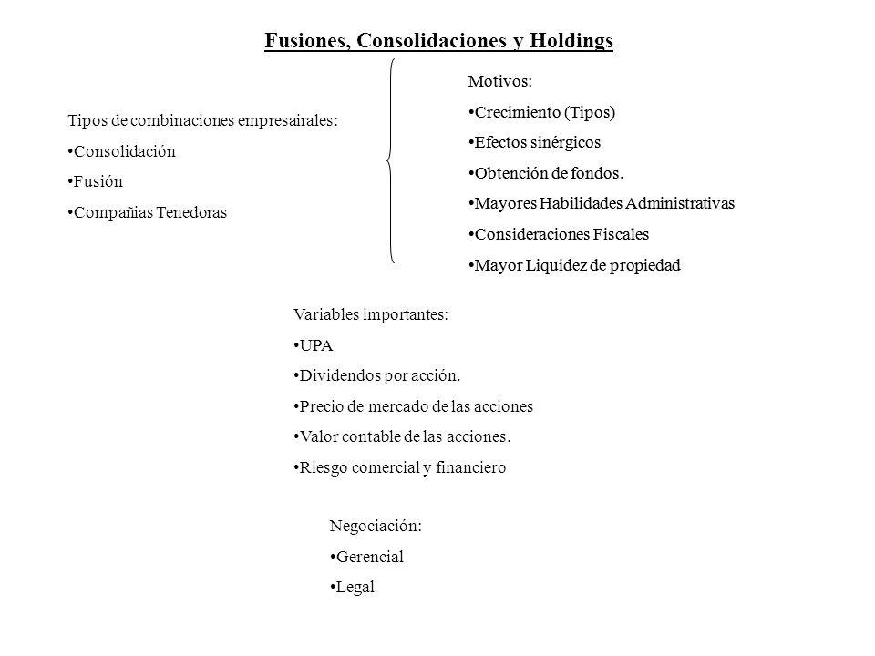 Fusiones, Consolidaciones y Holdings Tipos de combinaciones empresairales: Consolidación Fusión Compañias Tenedoras Motivos: Crecimiento (Tipos) Efect