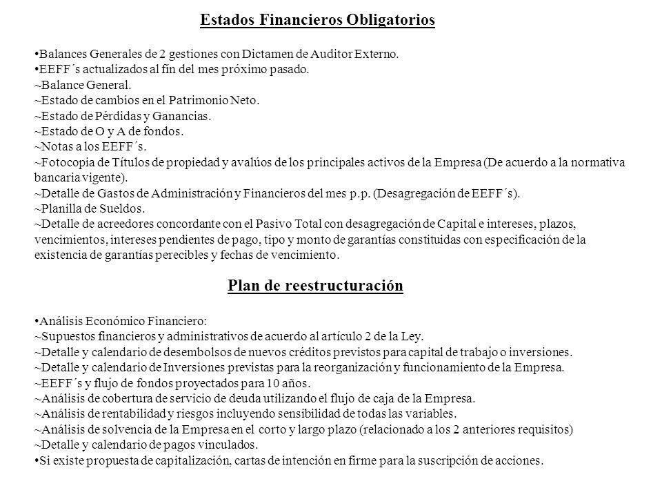Estados Financieros Obligatorios Plan de reestructuración Balances Generales de 2 gestiones con Dictamen de Auditor Externo. EEFF´s actualizados al fí