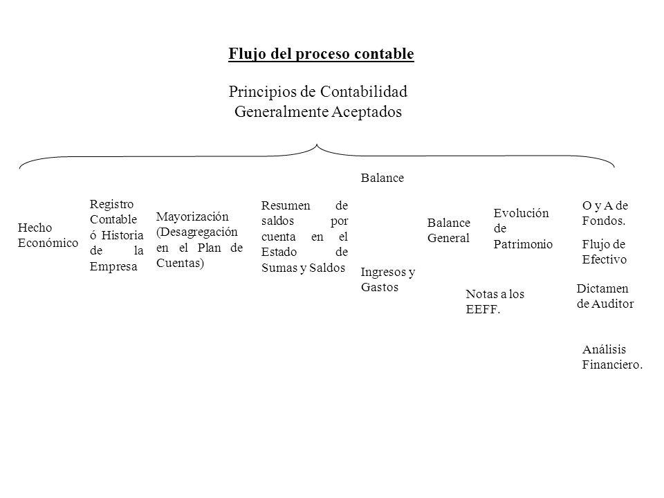 Hecho Económico Registro Contable ó Historia de la Empresa Mayorización (Desagregación en el Plan de Cuentas) Resumen de saldos por cuenta en el Estad