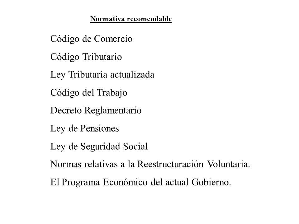 Código de Comercio Código Tributario Ley Tributaria actualizada Código del Trabajo Decreto Reglamentario Ley de Pensiones Ley de Seguridad Social Norm