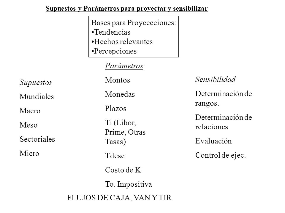 Supuestos Mundiales Macro Meso Sectoriales Micro Parámetros Montos Monedas Plazos Ti (Libor, Prime, Otras Tasas) Tdesc Costo de K To. Impositiva Bases