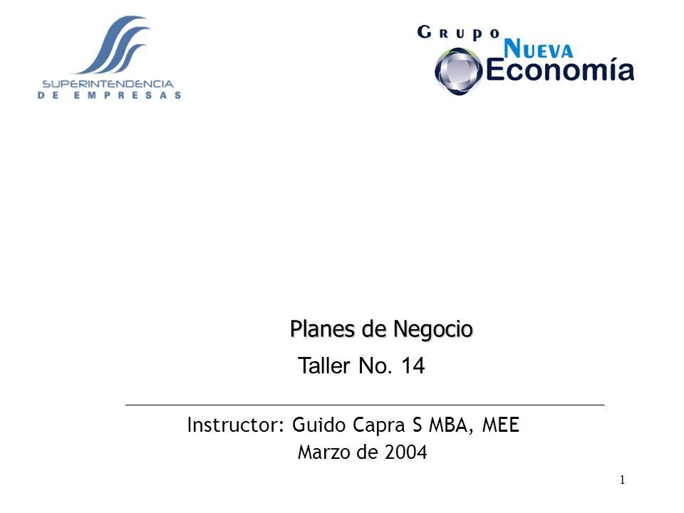 1 Instructor: Guido Capra S MBA, MEE Marzo de 2004 Taller No. 14 Planes de Negocio
