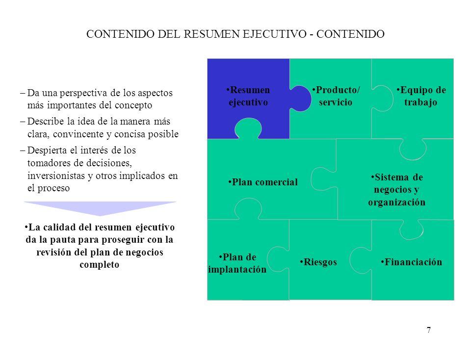 7 CONTENIDO DEL RESUMEN EJECUTIVO - CONTENIDO –Da una perspectiva de los aspectos más importantes del concepto –Describe la idea de la manera más clar