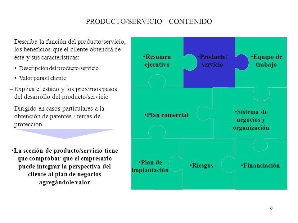 9 PRODUCTO/SERVICIO - CONTENIDO –Describe la función del producto/servicio, los beneficios que el cliente obtendrá de éste y sus características: Desc