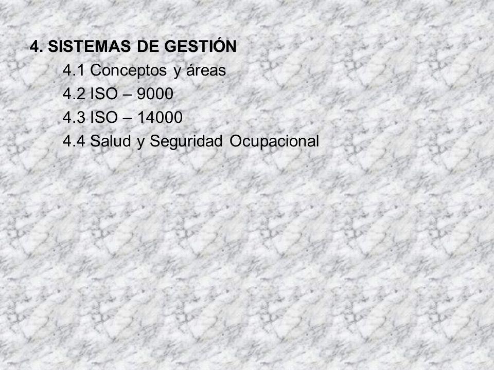 4. SISTEMAS DE GESTIÓN 4.1 Conceptos y áreas 4.2 ISO – 9000 4.3 ISO – 14000 4.4 Salud y Seguridad Ocupacional