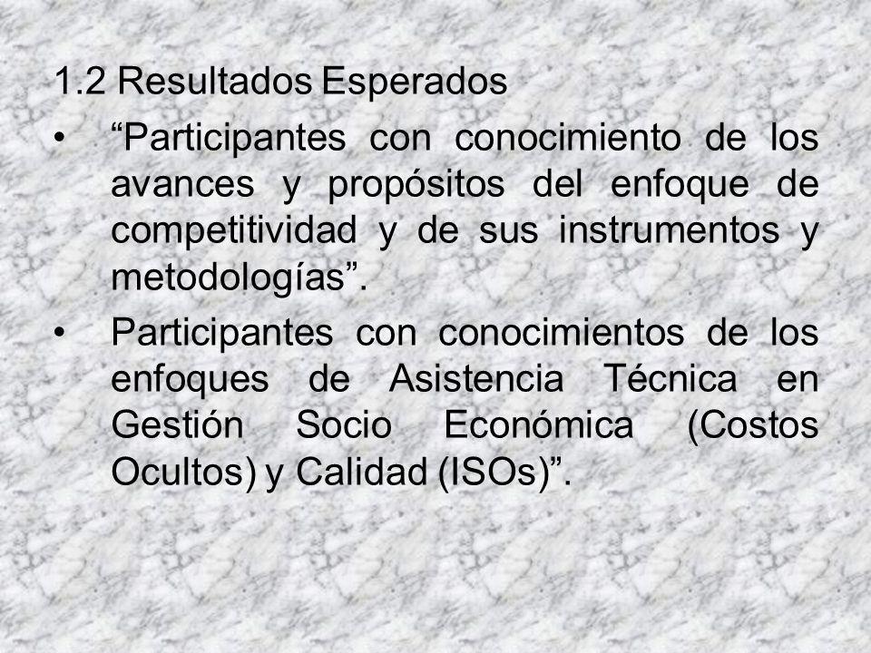 1.2 Resultados Esperados Participantes con conocimiento de los avances y propósitos del enfoque de competitividad y de sus instrumentos y metodologías