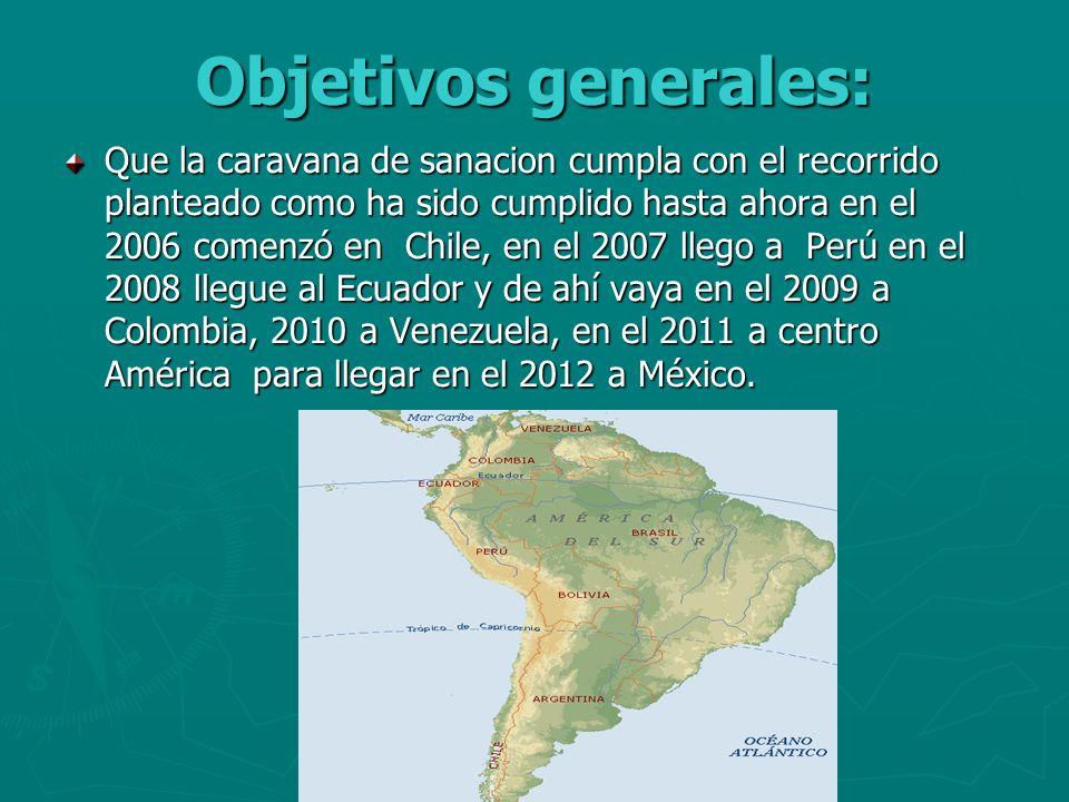Objetivos generales: Que la caravana de sanacion cumpla con el recorrido planteado como ha sido cumplido hasta ahora en el 2006 comenzó en Chile, en e
