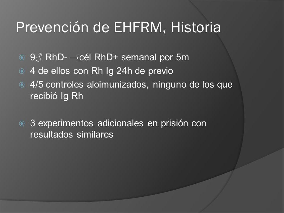 Prevención de EHFRM, Historia 9 RhD- cél RhD+ semanal por 5m 4 de ellos con Rh Ig 24h de previo 4/5 controles aloimunizados, ninguno de los que recibi