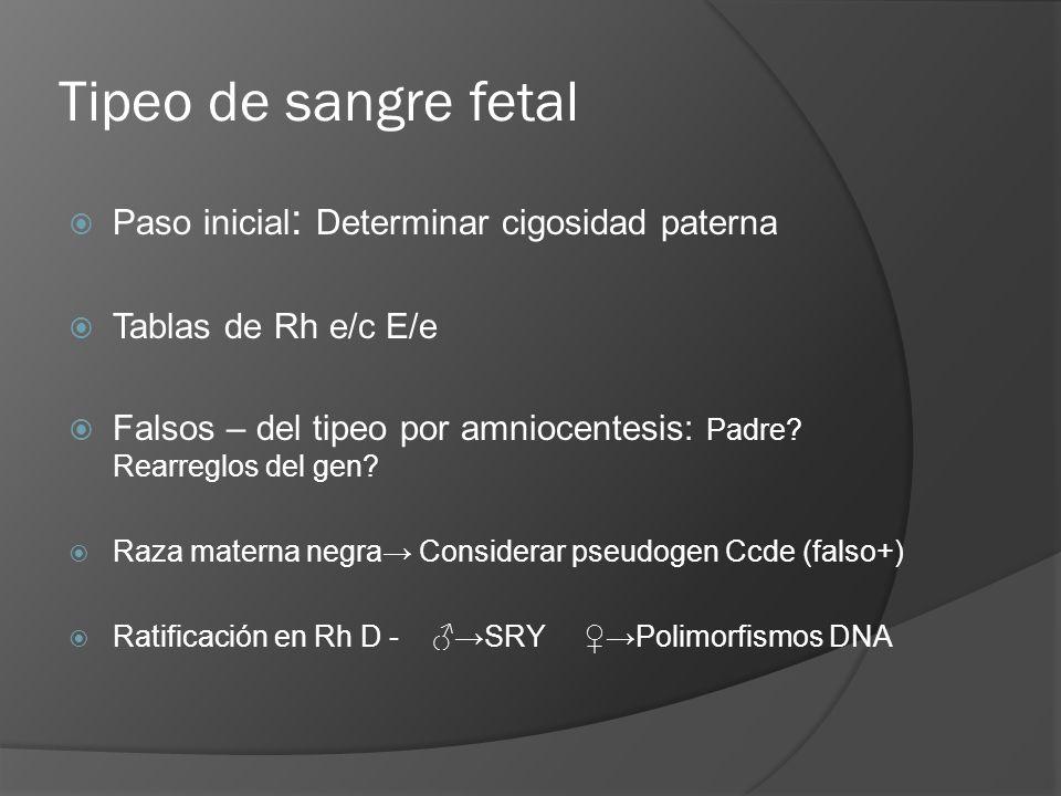 Tipeo de sangre fetal Paso inicial : Determinar cigosidad paterna Tablas de Rh e/c E/e Falsos – del tipeo por amniocentesis: Padre? Rearreglos del gen