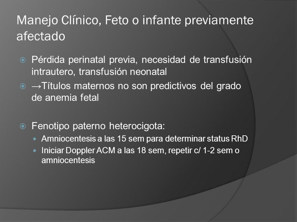 Manejo Clínico, Feto o infante previamente afectado Pérdida perinatal previa, necesidad de transfusión intrautero, transfusión neonatal Títulos matern