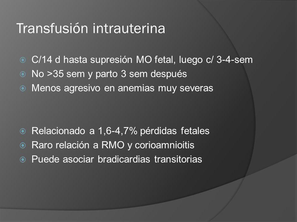 Transfusión intrauterina C/14 d hasta supresión MO fetal, luego c/ 3-4-sem No >35 sem y parto 3 sem después Menos agresivo en anemias muy severas Rela