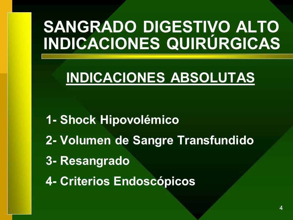 4 SANGRADO DIGESTIVO ALTO INDICACIONES QUIRÚRGICAS INDICACIONES ABSOLUTAS 1- Shock Hipovolémico 2- Volumen de Sangre Transfundido 3- Resangrado 4- Cri