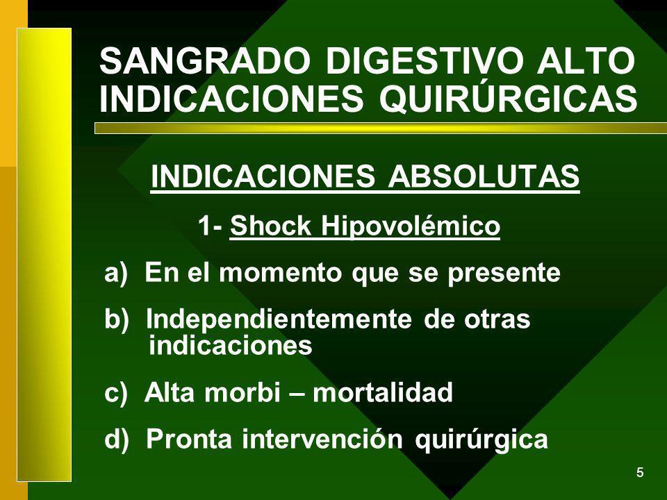 5 SANGRADO DIGESTIVO ALTO INDICACIONES QUIRÚRGICAS INDICACIONES ABSOLUTAS 1- Shock Hipovolémico a) En el momento que se presente b) Independientemente