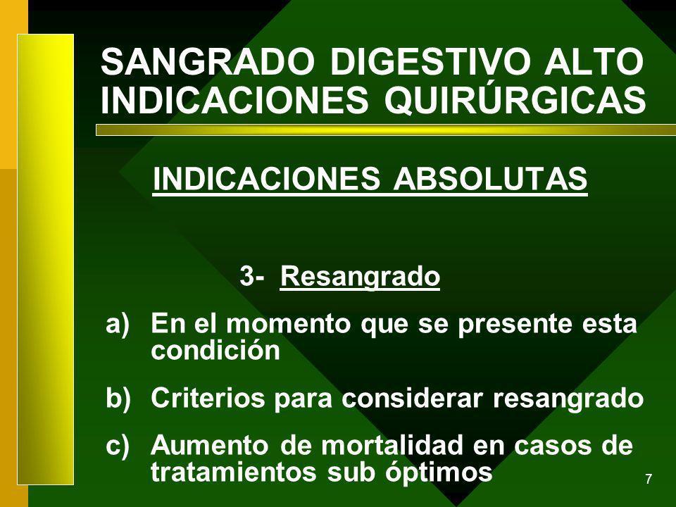 7 SANGRADO DIGESTIVO ALTO INDICACIONES QUIRÚRGICAS INDICACIONES ABSOLUTAS 3- Resangrado a)En el momento que se presente esta condición b)Criterios par