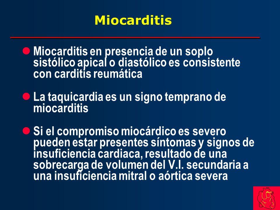 Miocarditis l Miocarditis en presencia de un soplo sistólico apical o diastólico es consistente con carditis reumática l La taquicardia es un signo te