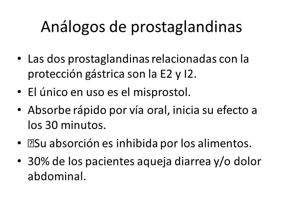 Análogos de prostaglandinas Las dos prostaglandinas relacionadas con la protección gástrica son la E2 y I2. El único en uso es el misprostol. Absorbe