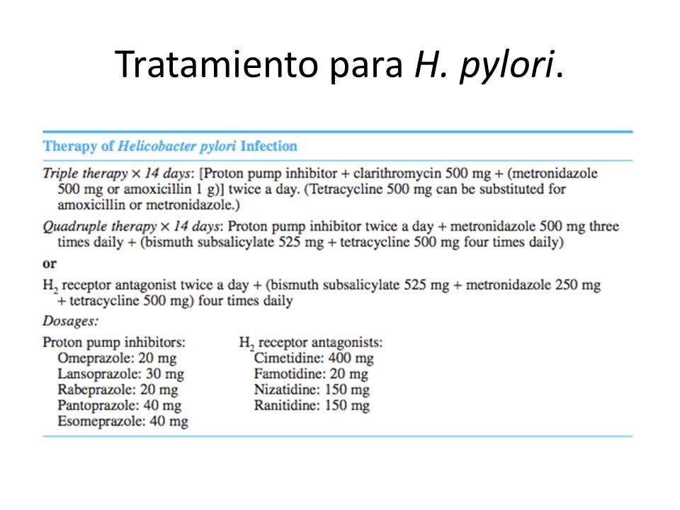 Tratamiento para H. pylori.