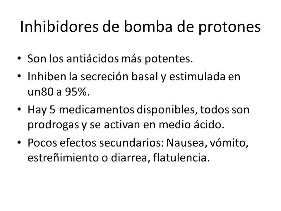 Inhibidores de bomba de protones Son los antiácidos más potentes. Inhiben la secreción basal y estimulada en un80 a 95%. Hay 5 medicamentos disponible