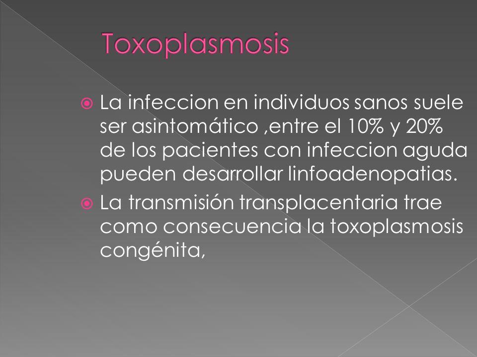 La infeccion en individuos sanos suele ser asintomático,entre el 10% y 20% de los pacientes con infeccion aguda pueden desarrollar linfoadenopatias. L