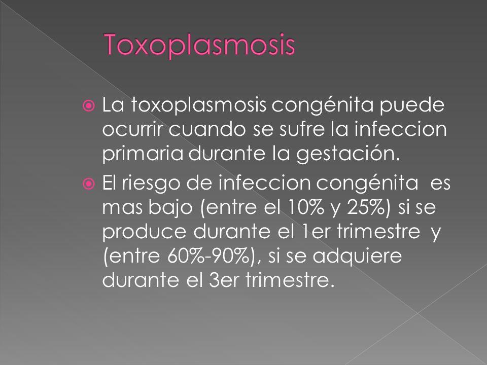 La toxoplasmosis congénita puede ocurrir cuando se sufre la infeccion primaria durante la gestación. El riesgo de infeccion congénita es mas bajo (ent