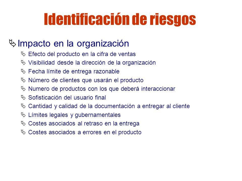 Gestión de riesgos Identificación de riesgos Impacto en la organización Efecto del producto en la cifra de ventas Visibilidad desde la dirección de la