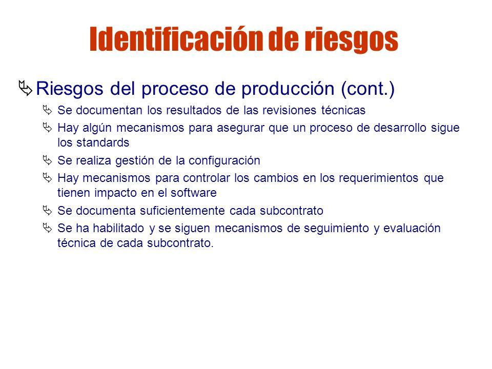 Gestión de riesgos Identificación de riesgos Riesgos del proceso de producción (cont.) Se documentan los resultados de las revisiones técnicas Hay alg