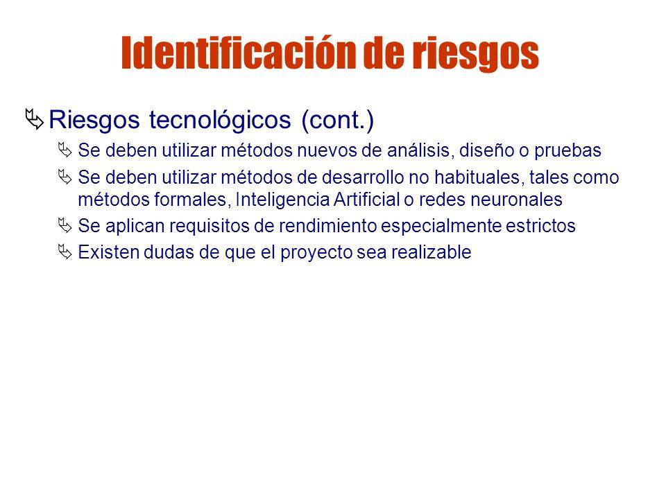 Gestión de riesgos Identificación de riesgos Riesgos tecnológicos (cont.) Se deben utilizar métodos nuevos de análisis, diseño o pruebas Se deben util