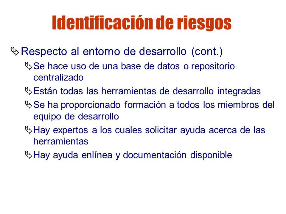 Gestión de riesgos Identificación de riesgos Respecto al entorno de desarrollo (cont.) Se hace uso de una base de datos o repositorio centralizado Est