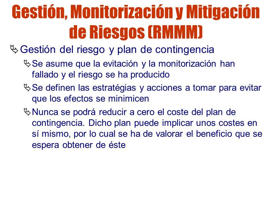 Gestión de riesgos Gestión, Monitorización y Mitigación de Riesgos (RMMM) Gestión del riesgo y plan de contingencia Se asume que la evitación y la mon