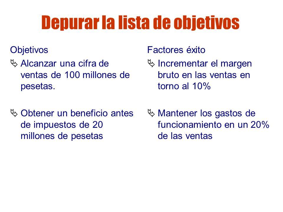 Gestión de riesgos Depurar la lista de objetivos Objetivos Alcanzar una cifra de ventas de 100 millones de pesetas. Obtener un beneficio antes de impu