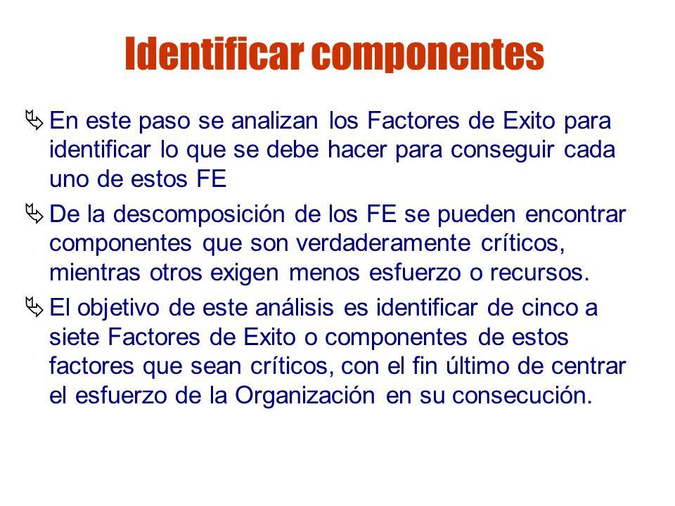 Gestión de riesgos Identificar componentes En este paso se analizan los Factores de Exito para identificar lo que se debe hacer para conseguir cada un